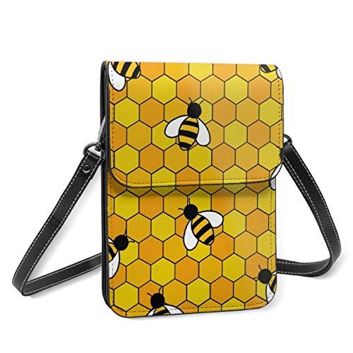 Hdadwy mobiltelefon crossbody väska honungsbin liten crossbody telefonväska för kvinnor, mobiltelefon axelväskor korthållare plånbok handväska