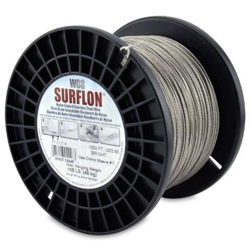 Surflon Size 7-105-Pound Break 1000-Feet Crimping Picture Wire Nylon Coated Stainless Steel, Bright ()