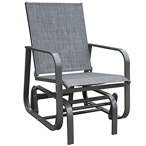 Kozyard Fleya Outdoor Smooth Rocking Glider Chair with Strong and Breathable Textilene, Sturdy Steel Frame for Pation, Yard or Garden