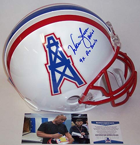 Warren Moon Autographed Hand Signed Houston Oilers Full Size Authentic Football Helmet - with HOF 06 & 9x Pro Bowl Inscriptions - BAS Beckett Authentication