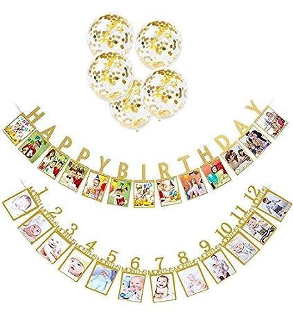 Amazon.com: Fengril - Guirnalda de cumpleaños para bebé (2 ...