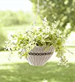 Cheap Easy Care Resin Wicker Hanging Basket, Bright White