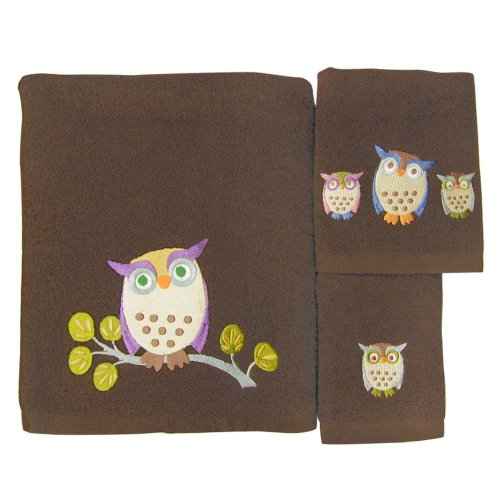 Allure Home Creations Awesome Owls 100-Percent Cotton 3-Piece Towel Set (Bath Towels Owl)