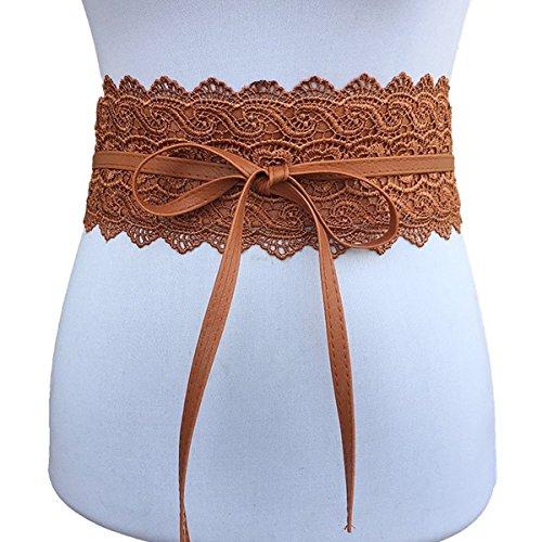 elt Faux Leather Self Tie Wrap Around Waist Cinch Belts Boho Belts (Free, Camel) (Camel Tie)