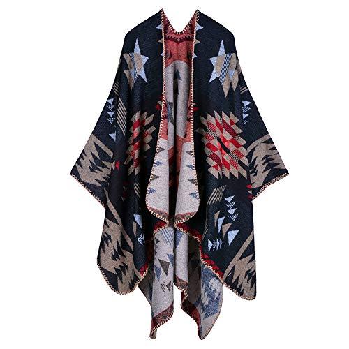 Voneyesa Women's Winter Blanket Poncho Shawls Women Classic Acrylic Aztec Pattern Poncho Capes (Black)