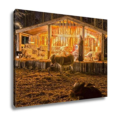 Ashley Canvas, Visitors Viewing Live Nativity Play During Christmas, Home Decoration Office, Ready to Hang, 20x25, AG6351442 by Ashley Canvas