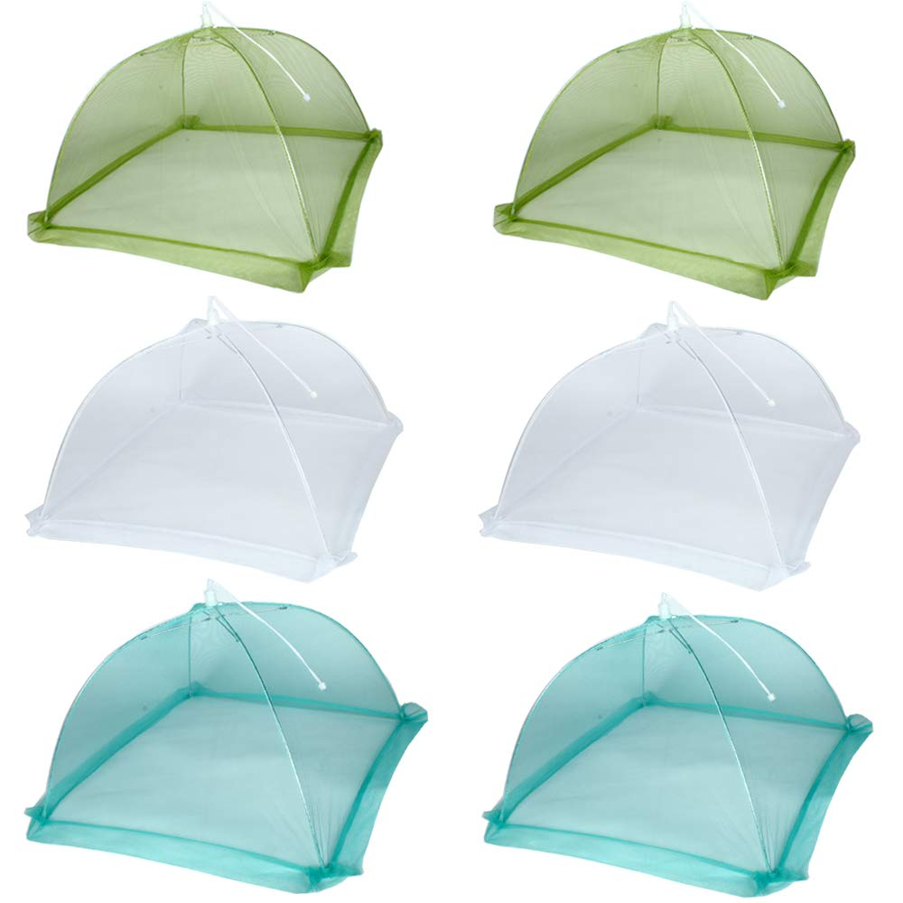 17''x17'' Pop-Up Mesh Screen Food Cover Tents - Keep Out Flies, Bugs, Mosquitos - Reusable and Collapsible(6 Pack)