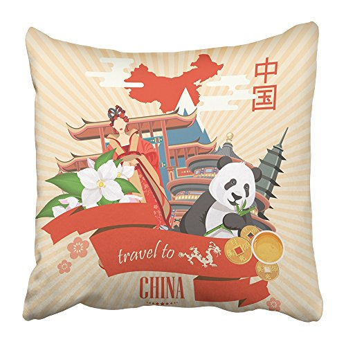 Emvency Throw Pillow Covers Print Hong China Travel Chinese with Architecture Food Costumes Traditional Symbols in Vintage Text Kong Polyester 20 X 20 Inch Square Hidden Zipper Decorative Pillowcase