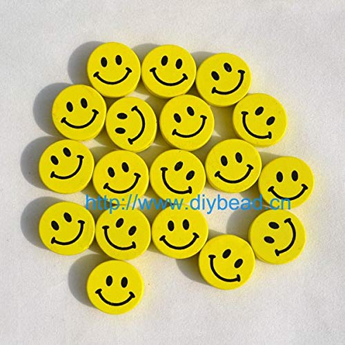 (Calvas 20pcs/lot DIY Jewelry Beads Bracelet Accessories Wooden Beads Cartoon Smile Face with Printed for Necklace Hand Making Mix Color - (Color: Yellow))
