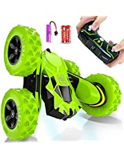 Toys for 6-12 Year Old Boys JoyJam RC Stunt Car for Kids and Adults 4WD Off Road Truck 2.4Ghz Remote Control Vehicle Double Sided 360 Degree Rotating Christmas Birthday Gifts Green
