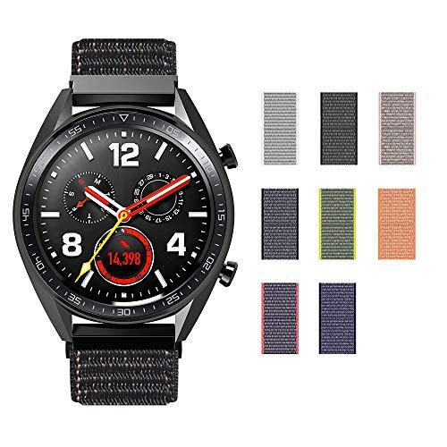 SIKAI Correa de Reloj para Amazfit Stratos Smartwatch 22mm Reemplazo de Nylon Ajustable Band de Nilón Tejido Bucles para Fossil Q Founder/Fossil Q ...