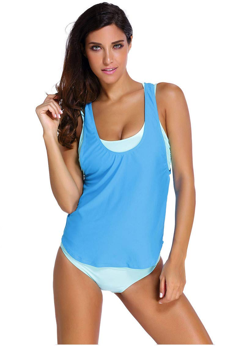 bluee BuyBuyBuy Women's ThreePiece Swimsuit, Openwork Print Pattern, Waist and Flats, ThreePiece Sexy Bikini Comfortable