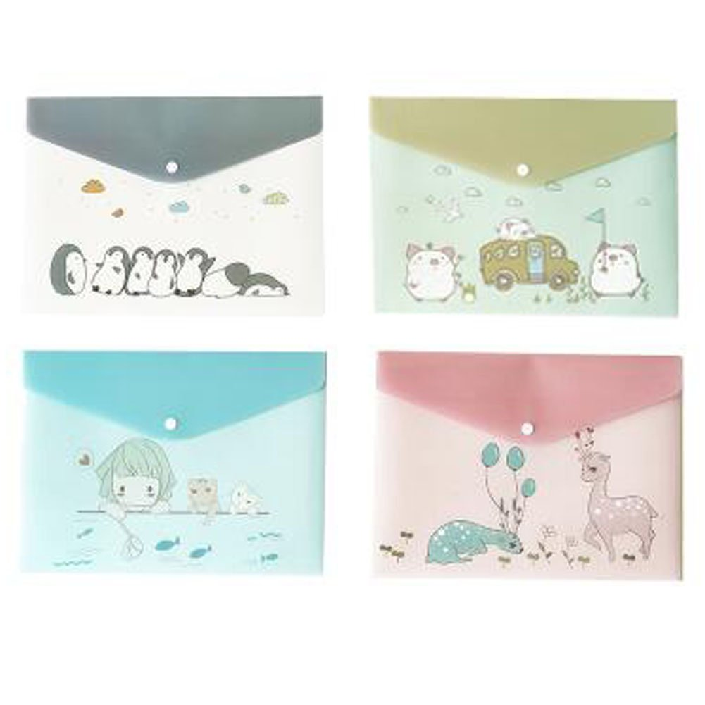 2PCS Cute File Bag Stationery Bag Pouch File Envelope for Office/School Supplies, Lovely