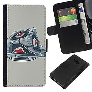 NEECELL GIFT forCITY // Billetera de cuero Caso Cubierta de protección Carcasa / Leather Wallet Case for HTC One M7 // Portal Box