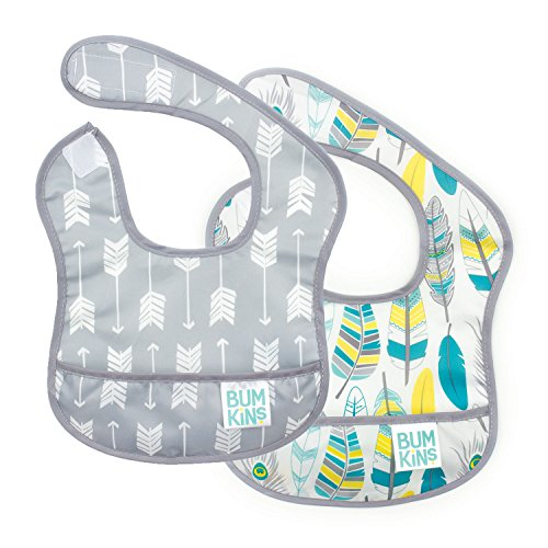 Bumkins Starter Bib, Baby Bib Infant, Waterproof, Washable, Stain and Odor Resistant, 3-9 Months, 2-Pack - Arrows & Feathers