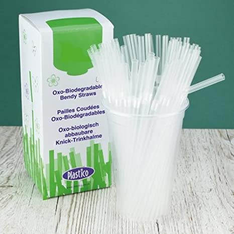 Plastico 397OXOB Naturally Oxo-Biodegradable pajitas 200 mm x 5 mm ...