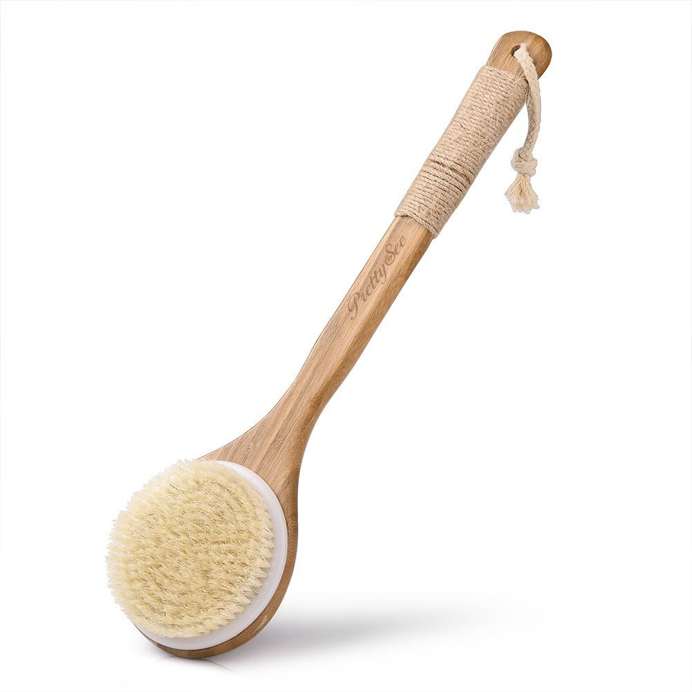 Pretty See Bath Body Brush Boar Bristles Exfoliating Body Massager with Long Wooden Handle for Dry Brushing and Shower