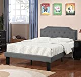Poundex Bobkona Finely Polyfabric Upholstered Twin Size Bed in Blue Grey