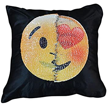Reversible Sequin Pillow Case - Ehonestbuy Emoji Two Face Throw Cushion Cover Zippered Square Decorative Pillowcase for Sofa Home Decor DIY (Like + kiss)