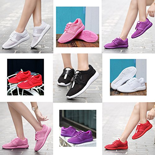 Flat Laces Comfort with Mesh Pink Walking Women's Breathable Shoes OUYAJI Summer Sports Bottom Casual qB8A8zHS