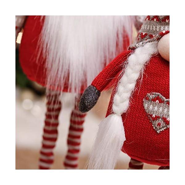 Valery Madelyn Gnomo Natalizio Set di 2, Bambola Gnomo Nordica Senza Volto Rossa e Grigia, Figurine di Gnomo in Feltro Natalizio Ornamenti Decorazioni per Mensole da Tavolo 4 spesavip