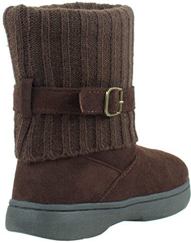 Zapatos De Bambú Para Mujer Tahoe-08 De Invierno Botines De Piel Sintética Con Hebilla De Correa Marrón