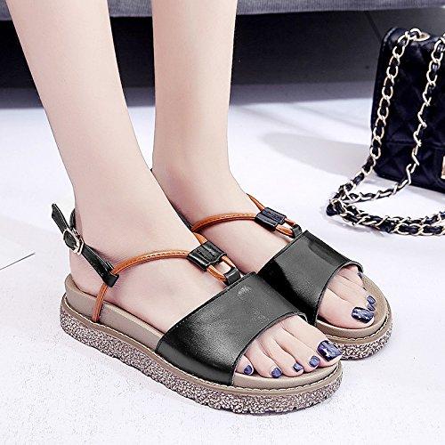 RUGAI-UE Sandalias de suela gruesa mujer verano zapatos deslice la correa plana Black