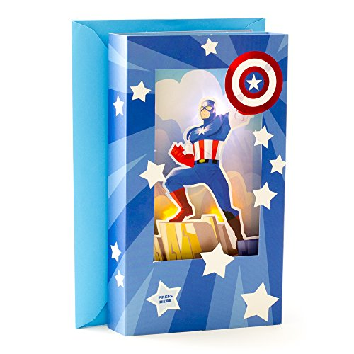 Hallmark Fathers Day Sound Greeting Card  Marvel Captain America Light And Foil Shadowbox