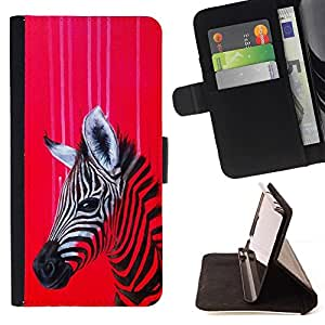 Momo Phone Case / Flip Funda de Cuero Case Cover - Zebra Art Rojo Pintura colorida Dibujo Petróleo - Apple Iphone 6 PLUS 5.5