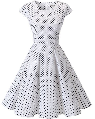 Vestido Mujeres Homrain Manga cóctel White Small Dot Rockabilly Swing Vintage Cap 1950 Black 8xwHUq