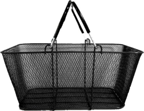 Wire Mesh Stacking Shopping Basket with Vinyl Handles, Black. Set of 12. by Metropolitan Display