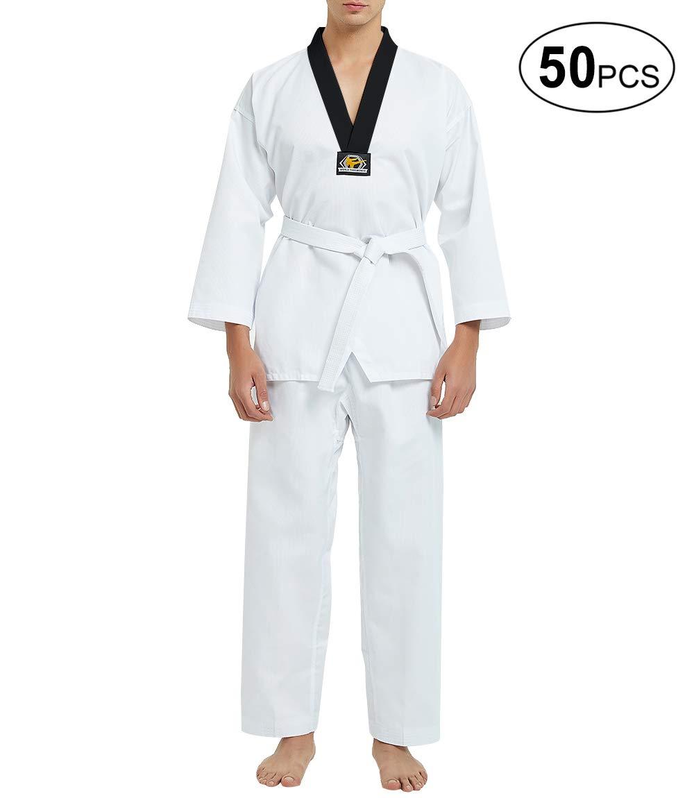 TOPTIE 50個0.21kg弾性巾着ミドル級テコンドーDobok学生ユニフォーム Size 6 ブラック V B07RDXG2PD