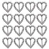 JETEHO - Paquete de 50 Cintas deslizantes para Silla con Forma de corazón Plateadas con Diamantes de imitación de Vidrio, 20 x 21 mm