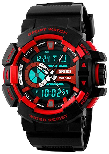 Aviser Skmei Dual Time Black Analog Digital Watch for Men and Boys
