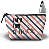 Faith Love Coffee Unisex Classic Make-up Makeup Bag Sport Gym Outdoor Cosmetic Bags