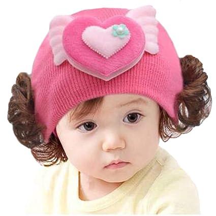 Gorro de invierno para bebé con peluca rizada, gorro de ganchillo ...