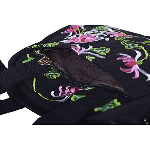 Negro Crown Lona para Merceditas Tianrui mujer negro de nYq7aFwdO