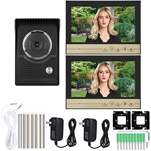 Wireless Video Doorbell Kit,9inch 1-Drag-2 Color Video Intercom Doorbell Visual Camera Door Phone Monitor 100-240V(US)