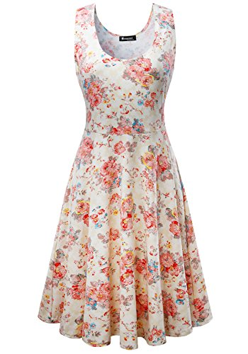 Measoul Womens Casual Fit and Flare Floral Sleeveless Party Evening Cocktail Dress,Beige,Medium
