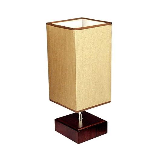 SSN Lámpara de Mesa de Madera Cuadrada Dormitorio lámpara de Noche ...