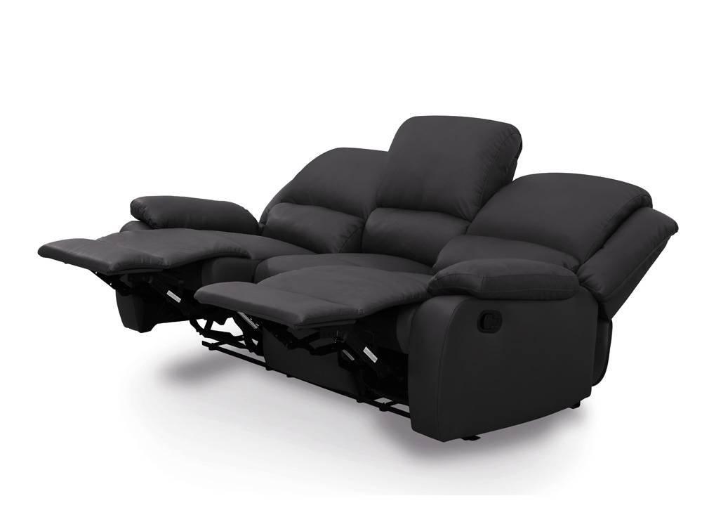 Relax Sofa 3 Sitzer Entspannung Kunstleder Schwarz Kaufen
