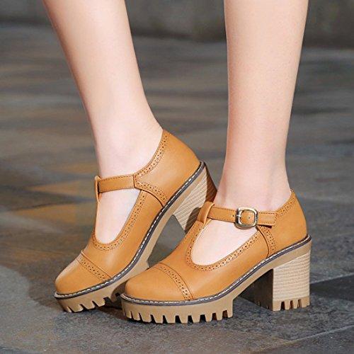 YE Damen Chunky Heels Geschlossene Pumps T Spangen High Heels Plateau mit Riemchen und Blockabsatz 8cm Bequem Schuhe Braun