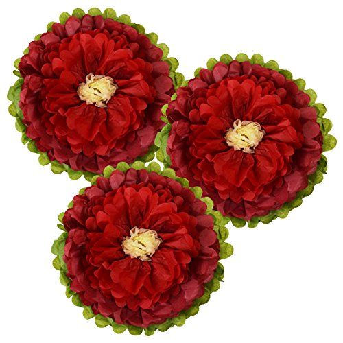Just Artifacts Tissue Paper Flower Pom Poms (10inch, Set of 3) - Color Combination: Red Velvet Red Ivory