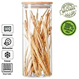 Glass Storage Jar Airtight Container with Bamboo Lid, Kitchen Canisters Coffee Dry Food Organizer (1350ml/45.8oz)