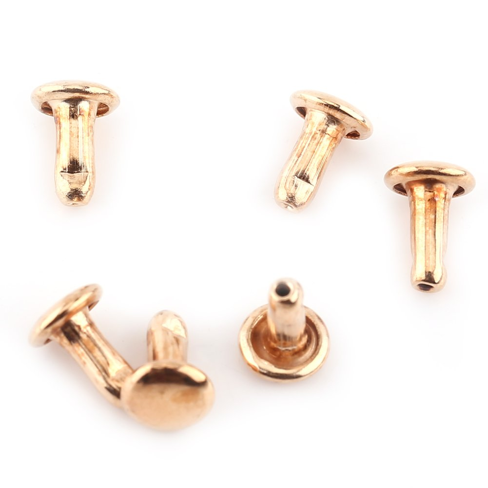 Remaches de Doble Cara Remaches de Hierro para Artesan/ía de Cuero Bolsa Zapatos 100unidades 6 /× 8 mm Bronce