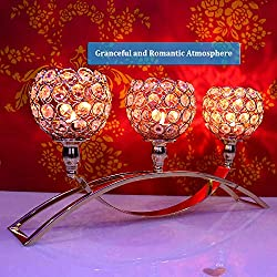 Joynest Crystal Candle Holders with 3 Arms, Wedding Coffee Table Decorative Centerpiece Candelabra, Tealight Candlestick Holder for Home/Holiday Decoration/Birthday