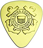 """Unique & Custom [0.38mm Thin Gauge - Traditional Style Semi Tip] Hard Luxury Guitar Pick Made of Genuine Solid Brass w/ United Stated Coast Guard w/ Anchors Design """"Gold Yellow Colored"""" {Single Pick}"""