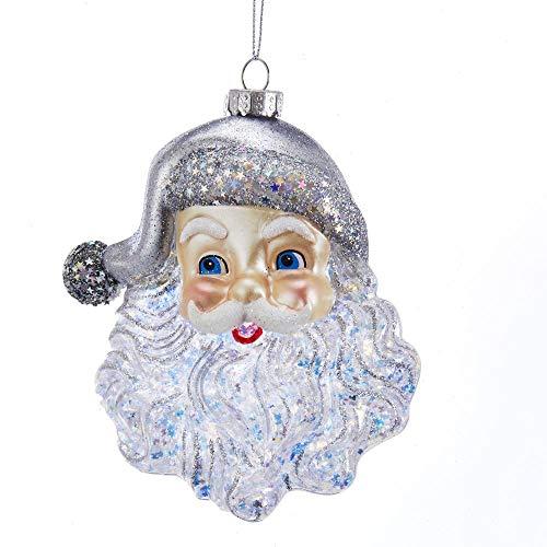 Kurt Adler Glass Santa Face with Silver Glitter Ornament