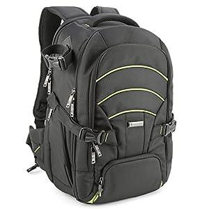 Evecase Professional Large DSLR Camera/Lens Kit/Laptop Travel Backpack for Canon EOS 70D, 60D, 7D, T6s, T6i, T5i, T5, T4i, T3, T3i SLR – Black/Green