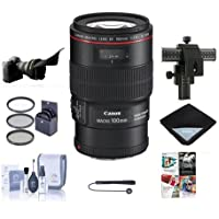 Canon EF 100mm f/2.8L IS USM Macro AF Lens Kit - USA - with 67mm Photo Filter Kit, Lens Cap Leash, Cleaning Kit, Four Way Focusing Rail Fine Control, Flex Lens Shade, Software Package